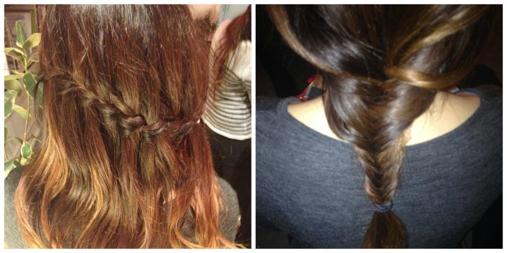 waterfall + fishtail braids