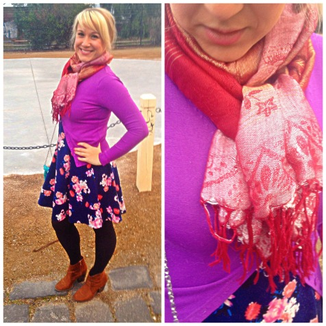 purple cardi + red scarf