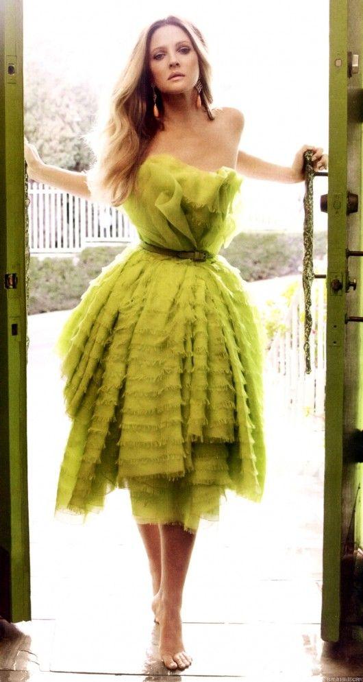 drew barrymore green dress