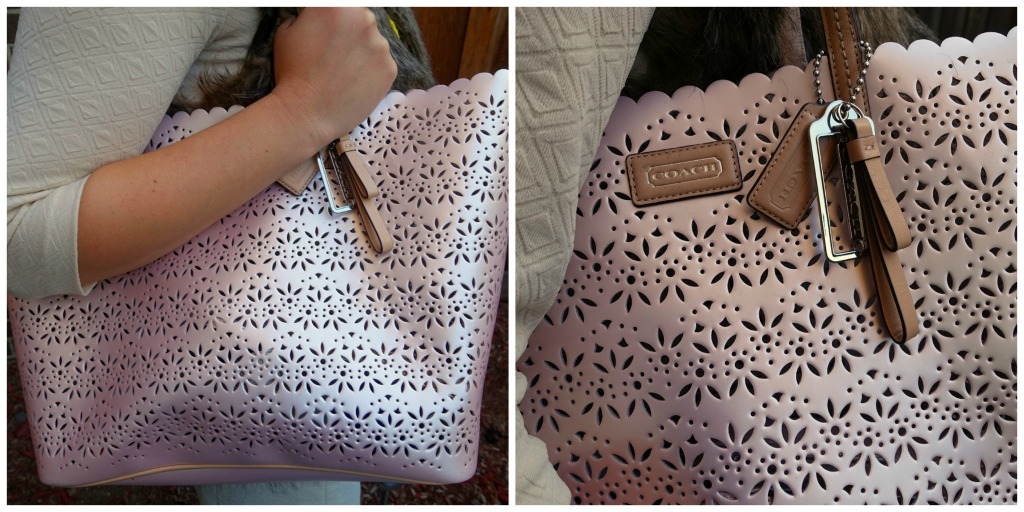 pastel pink Coach laser_cut handbag